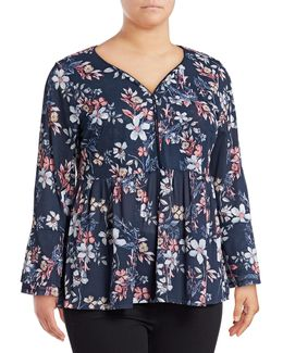 Plus Size Floral-print Lantern-sleeve Peasant Top
