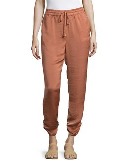 Ruched Glossy Joggers