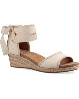 Amell Leather Espadrille Wedge Sandals