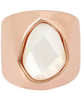 Mother-of-pearl Rose Goldplated Sculptural Ring