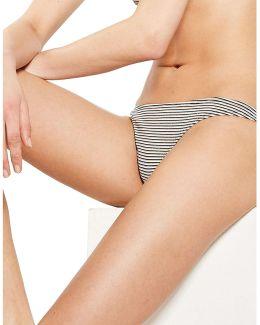 Lurex Striped Bikini Bottoms