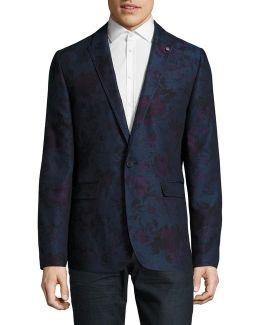 Floral Cotton-linen Blend Blazer