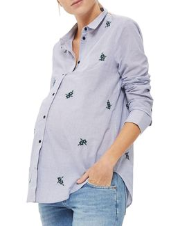 Maternity Floral Embroidered Stripe Shirt