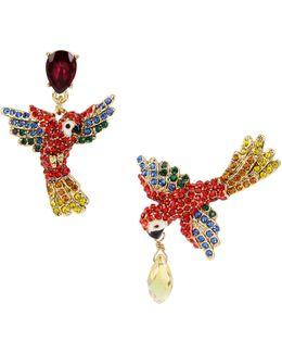 Pave Parrot Mismatch Drop Earrings