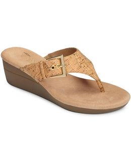 Cork Slip-on Wedge Sandals