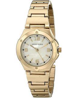 Analog Screw Bezel Goldtone Bracelet Watch