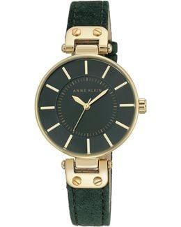Analog Goldtone Case Green Burnished Leather Strap Watch