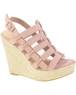 Suede Caged Platform Sandals