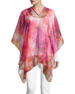 Abstract Cloud Chiffon Poncho
