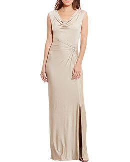 Metallic Cowl Neck Gown