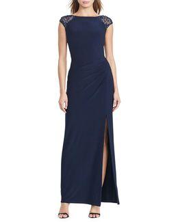Sequined V-back Gown