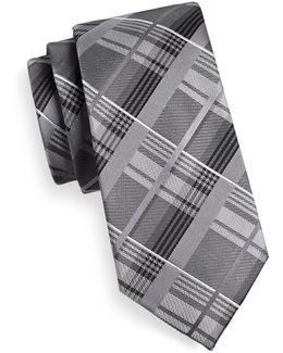 Plaid Silk-blend Tie