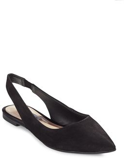 Villa Point Toe Slingback Leather Flats