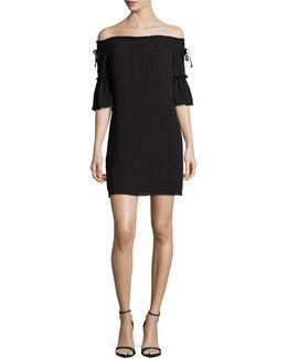 Off-shoulder Woven Mini Dress