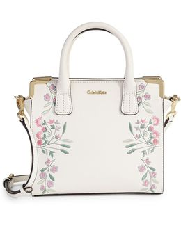 Floral Embroidered Satchel Bag