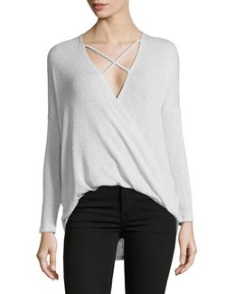 Long Sleeve Crisscross Plunge Sweater
