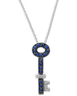 Sapphire, 0.08 Tcw Diamond, 14k White Gold Ring Pendant Necklace