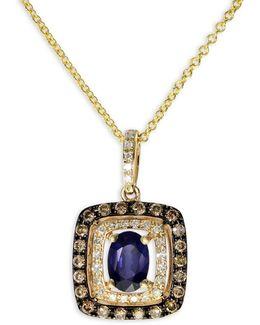 Sapphire, 0.32 Tcw Diamond, 14k Yellow Gold Pendant Necklace