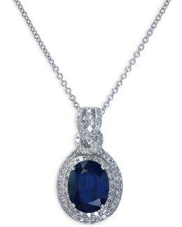 Sapphire, 0.29 Tcw Diamond, 14k White Gold Oval Pendant Necklace