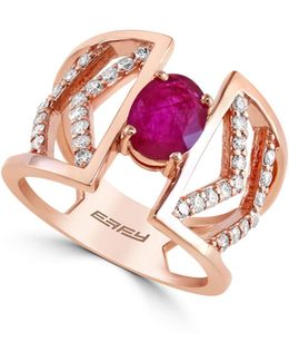 0.39 Tcw Diamond, Natural Mozambique Ruby, 14k Rose Gold Ring