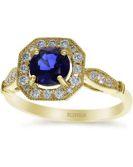 0.25 Tcw Diamond, Ceylon Sapphire, 14k Yellow Gold Ring