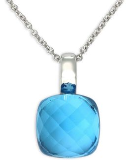 Blue Topaz, 14k White Gold Pendant Necklace