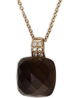 0.06 Tcw Diamond, Smoky Quartz, 14k Rose Gold Pendant Necklace