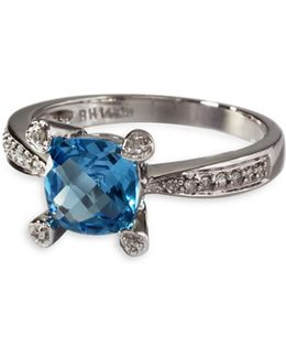 0.09 Tcw Diamond, Blue Topaz, 14k White Gold Ring