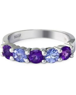 Amethyst, Tanzanite, 14k White Gold Ring