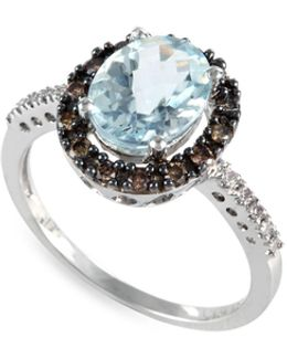 0.27 Tcw Diamond, Aquamarine, 14k White Gold Ring