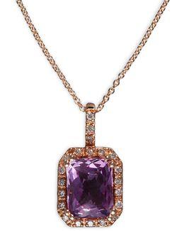 0.1 Tcw Diamond, Pink Amethyst, 14k Rose Gold Pendant Necklace