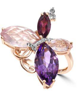 Fine Jewelry 14k Rose Gold 6.52 Ct. Tw. Diamond & Gemstone Ring