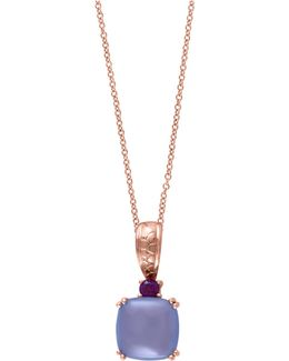 0.07 Tcw Tcw Diamond, 14k Rose Gold Square Pendant Necklace