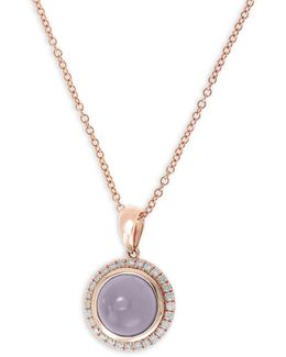 Quartz Chalcedony, 0.14 Tcw Diamond, 14k Rose Gold Pendant Necklace