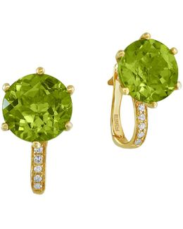 Peridot, 0.05 Tcw Diamond, 14k Yellow Gold Earrings