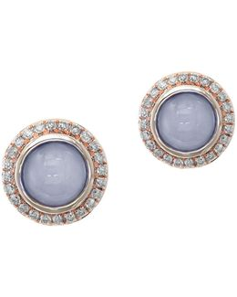 Quartz Chalcedony, 0.24 Tcw Diamond, 14k Rose Gold Round Stud Earrings