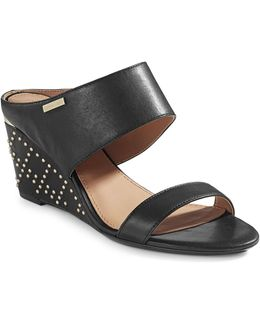 Phyllis Studded Leather Wedges
