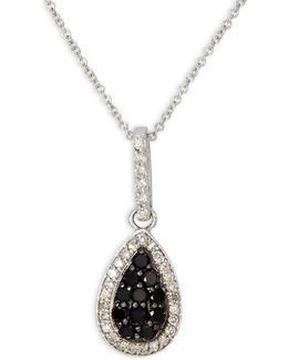 0.40 Tcw Two-tone Diamond Pendant, 14k White Gold Necklace