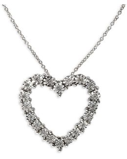 0.16 Tcw Diamond Heart Pendant, 14k White Gold Necklace
