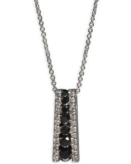 0.58 Tcw Two-tone Linear Diamond, 14k White Gold Necklace