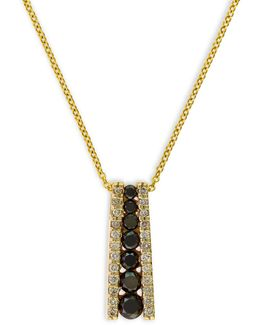 0.58 Tcw Two-tone Linear Diamond, 14k Yellow Gold Necklace