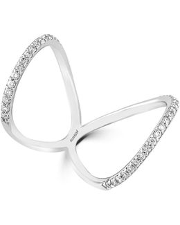 0.47 Tcw Diamond, 14k White Gold Butterfly Ring