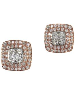 14k Two-tone Gold And 0.85tcw Diamond Square Stud Earrings