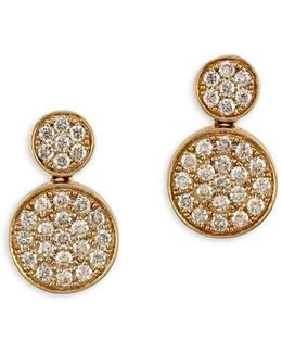 14k Yellow Gold And 0.73tcw Diamond Disc Drop Earrings