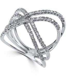 14k White Gold And 0.67tcw Diamond Crossover Ring
