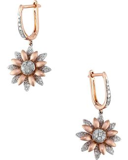 14k Two-tone Gold And 0.65tcw Diamond Floral Drop Earrings