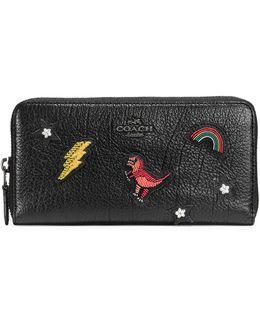 Souvenir Embroidery Grain Leather Accordion Zip Wallet