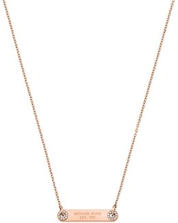 Haute Hardware Rose Goldtone Id Plaque Pendant Necklace