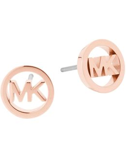 Haute Hardware Rose Goldtone Logo Stud Earrings