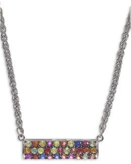 Sapphire, Sterling Silver Embellished Bar Pendant Necklace